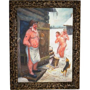 """Картина """"Трое в снегу и собака"""" B21-R11"""