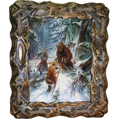 Картина Охота на медведя с рогатиной M1-R6