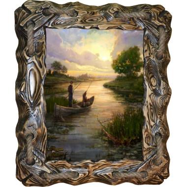 Картина рыбаки в лодке C3-R6